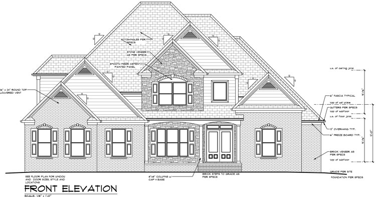 Southland custom homes on your lot home builders ga for Unique front elevation